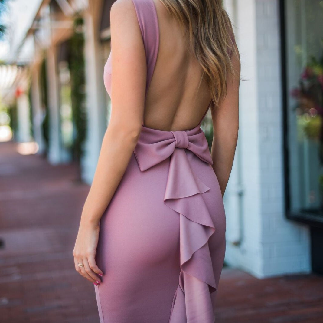 Perfect Duet Bow Back Maxi Dress In Deep Lavender