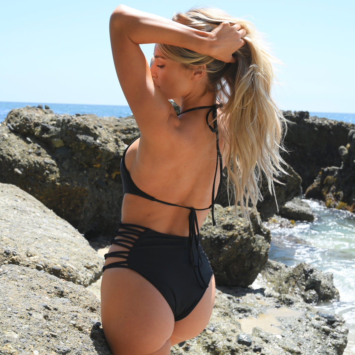 Bahama Strap One Piece Bikini in Black