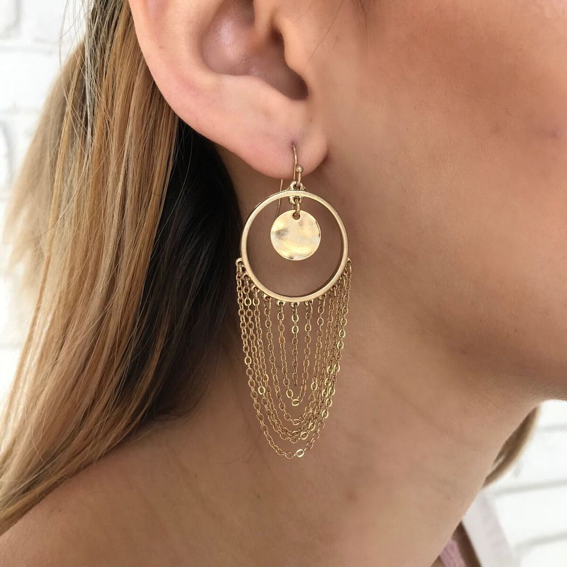 Hoop & Chain Earrings in Gold - Dainty Hooligan