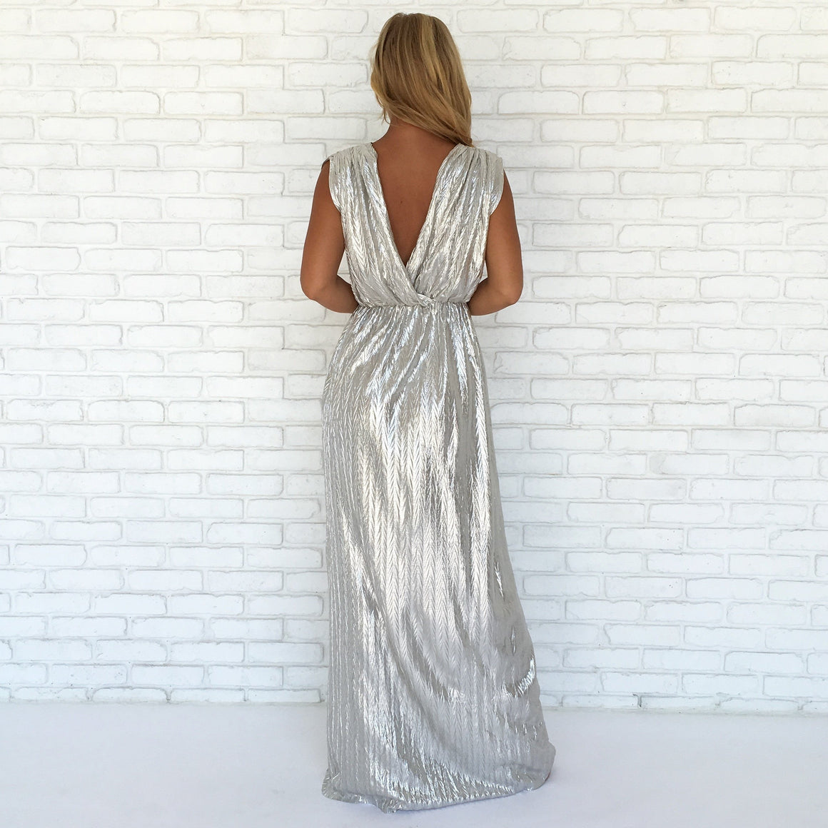 Illuminated Luxe Maxi Dress In Silver - Dainty Hooligan