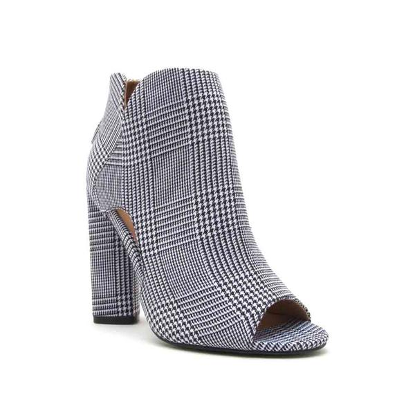 Charlie Black & White Print Open Toe Booties