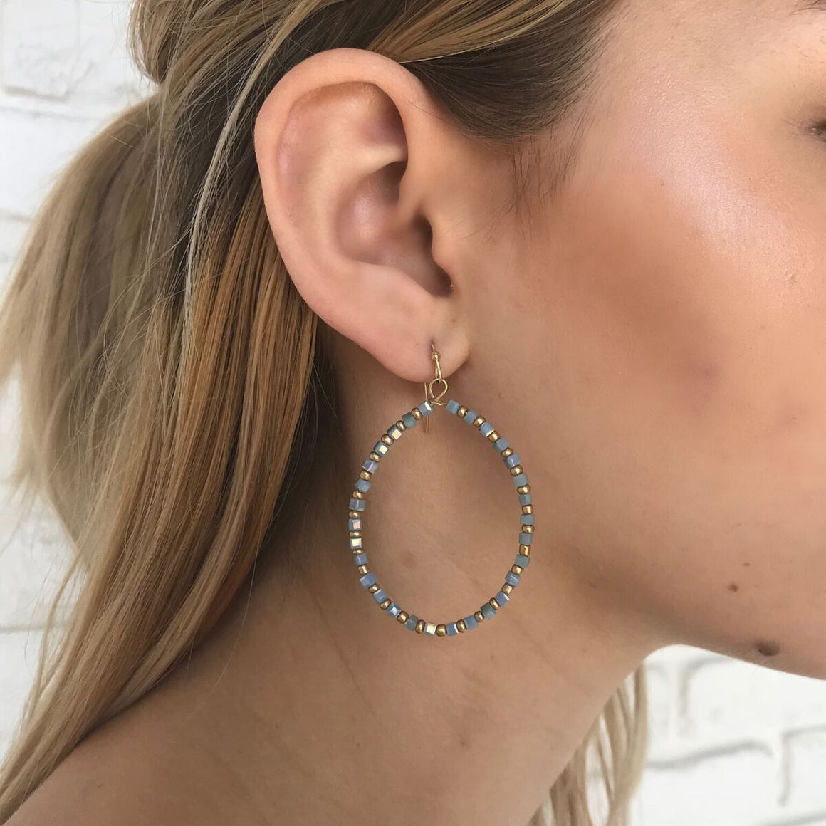 Sea Side Hoops in Blue - Dainty Hooligan