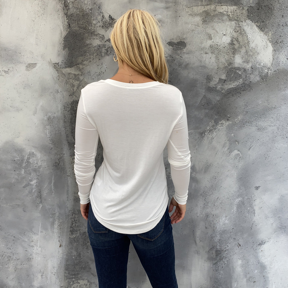 Layla Basic White Long Sleeve Top