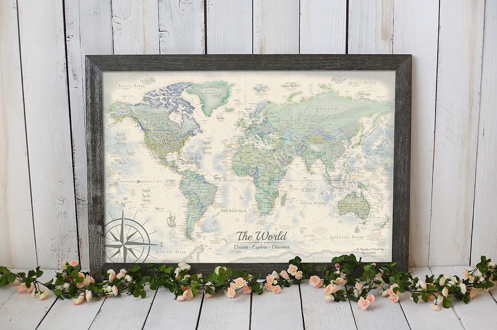 Usa world travel map with pins framed canvas maps geojango world push pin maps gumiabroncs Image collections