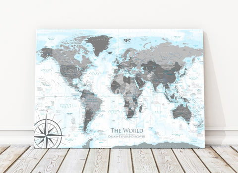 Endeavor world map canvas world push pin travel maps geojango maps endeavor world map canvas wrap map gumiabroncs Choice Image