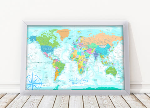 Kids world map framed board soft colored push pin travel maps wonders of the world kids map soft colored edition framed push pin map gumiabroncs Choice Image