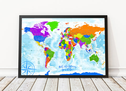 Kids world map framed canvas wonders push pin travel maps wonders of the world kids map framed canvas map gumiabroncs Choice Image