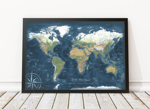 Voyager 2 world map framed canvas world push pin travel maps voyager 2 world map framed canvas map gumiabroncs Gallery