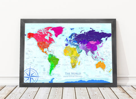 Rainbow world map framed board world push pin travel maps rainbow world map framed push pin map gumiabroncs Choice Image