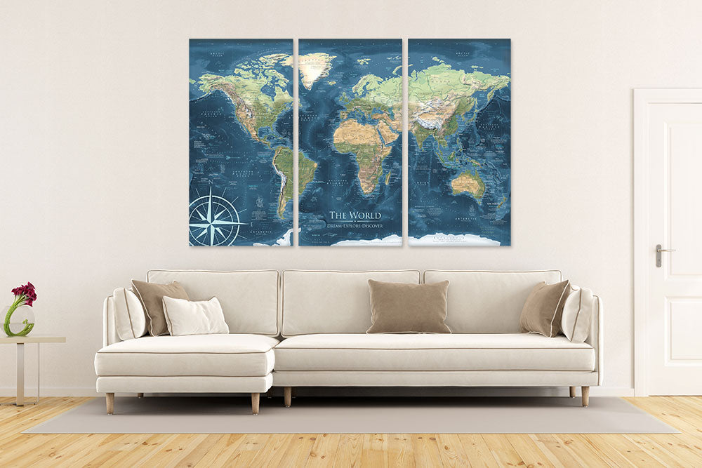 3 panel world map canvas