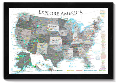 black and white usa push pin map