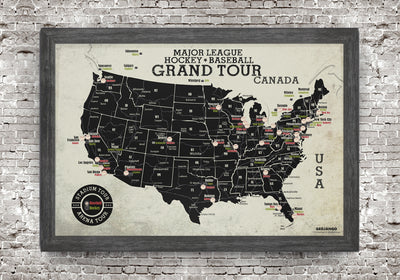 Grand Tour Stadium Map - MLB Baseball + NHL Hockey