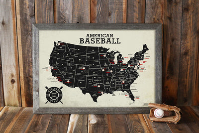 baseball map with glove