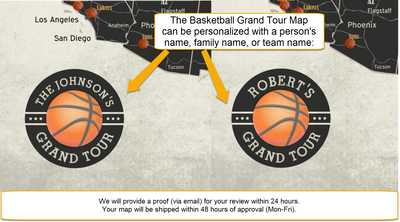 custom personalized basketball map