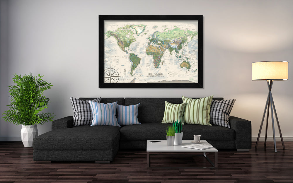 giant world map framed