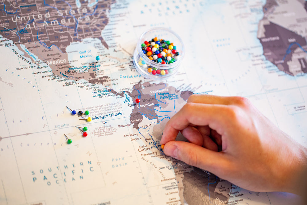 world map with push pins
