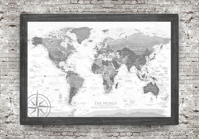 world map with custom frame