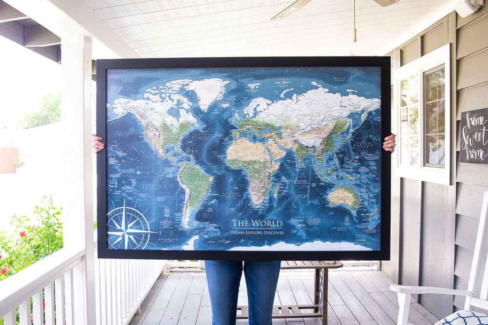Push Pin World Map Framed