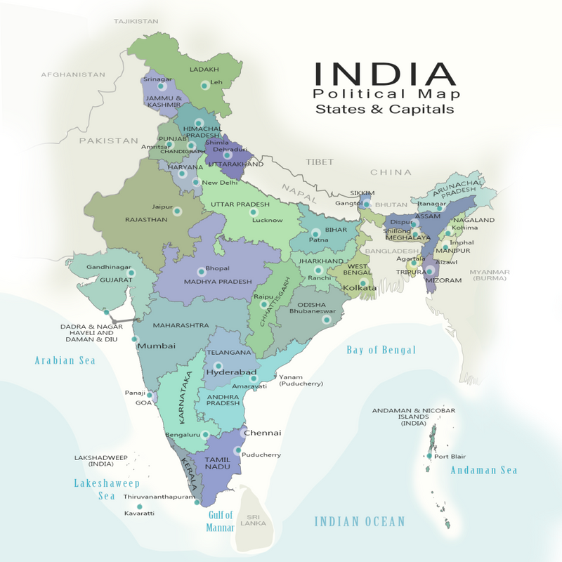 India Map Political Map with States and Capitals