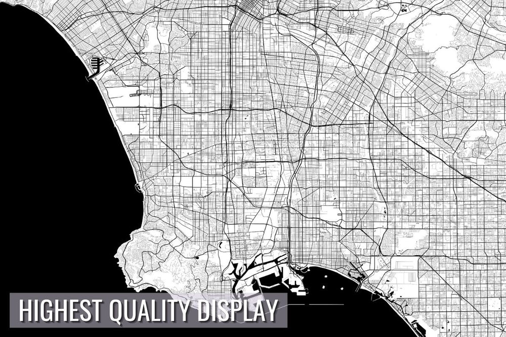Los Angeles City Map Wall Art