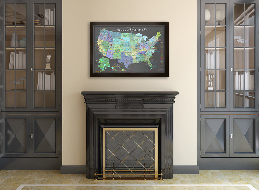 framed usa maps