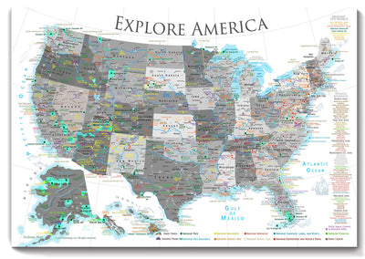 USA National Parks Map - Special Listing