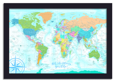 soft colored kids world map