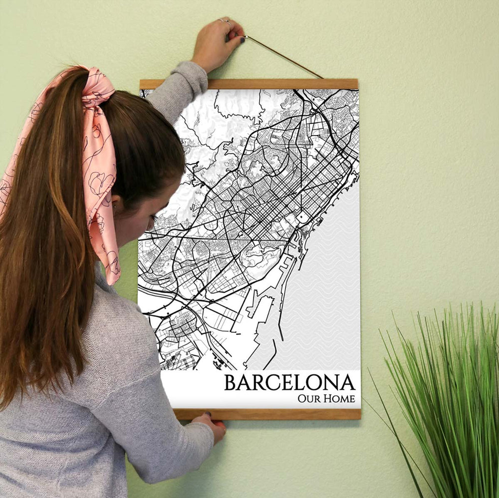 barcelona city street map print