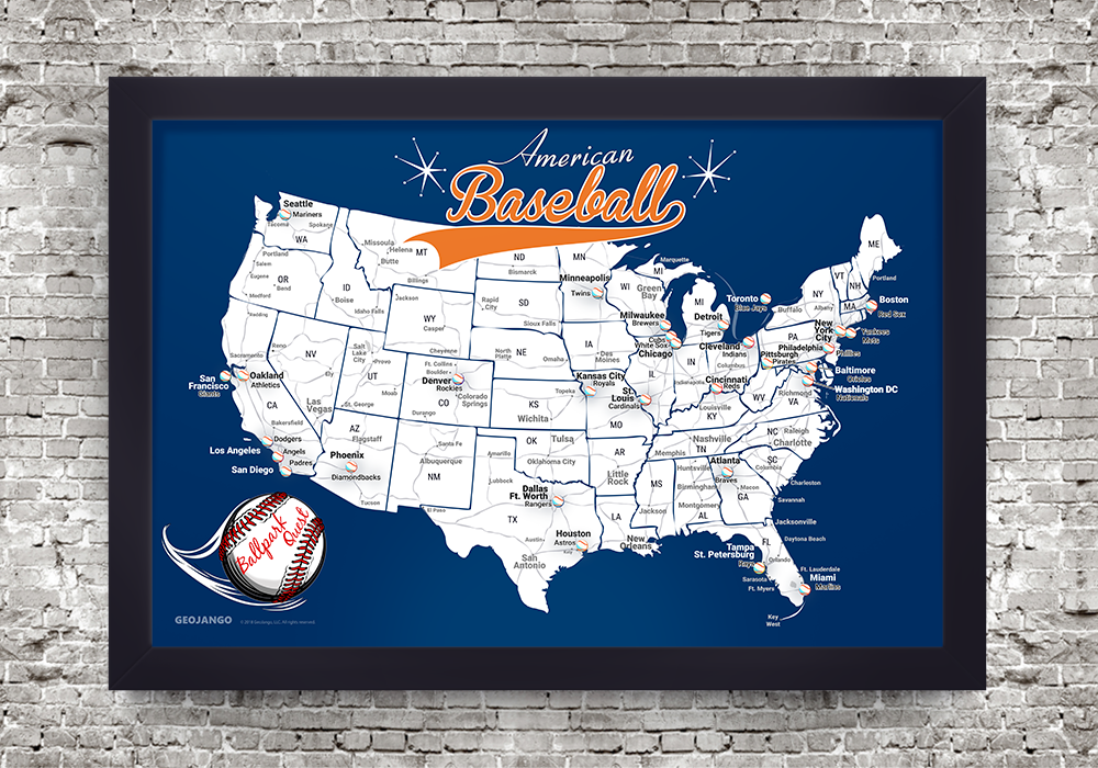 Baseball Map Decor