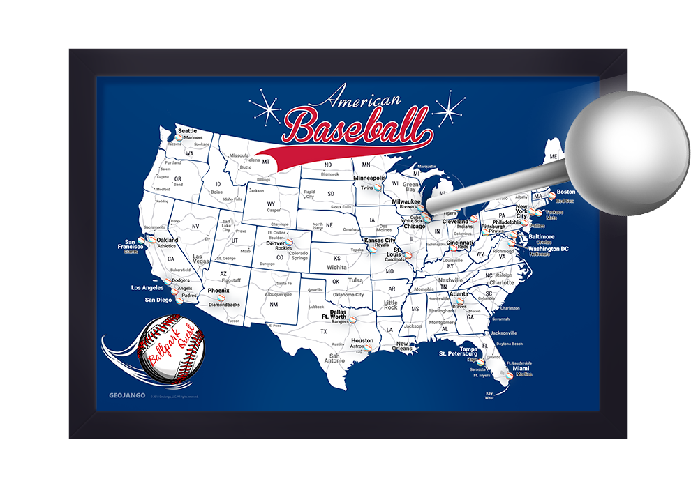 Baseball Map with pins