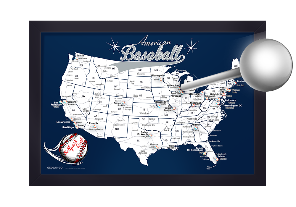 Baseball Stadium map with pins
