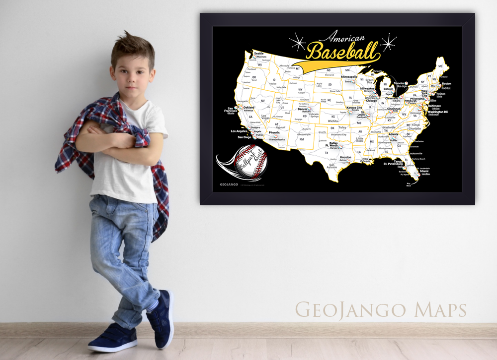 Framed Baseball Map