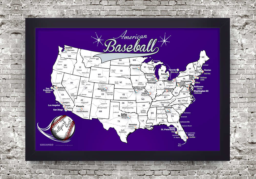 Framed Baseball Stadium Map