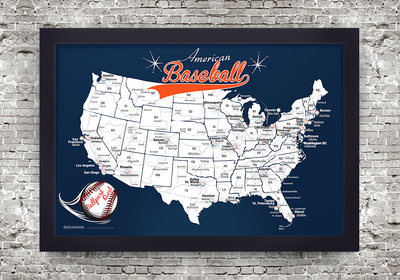 Detroit Tigers Framed Map