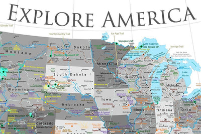 black and white usa map poster