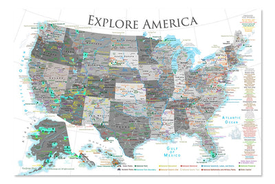 usa travel map for wall