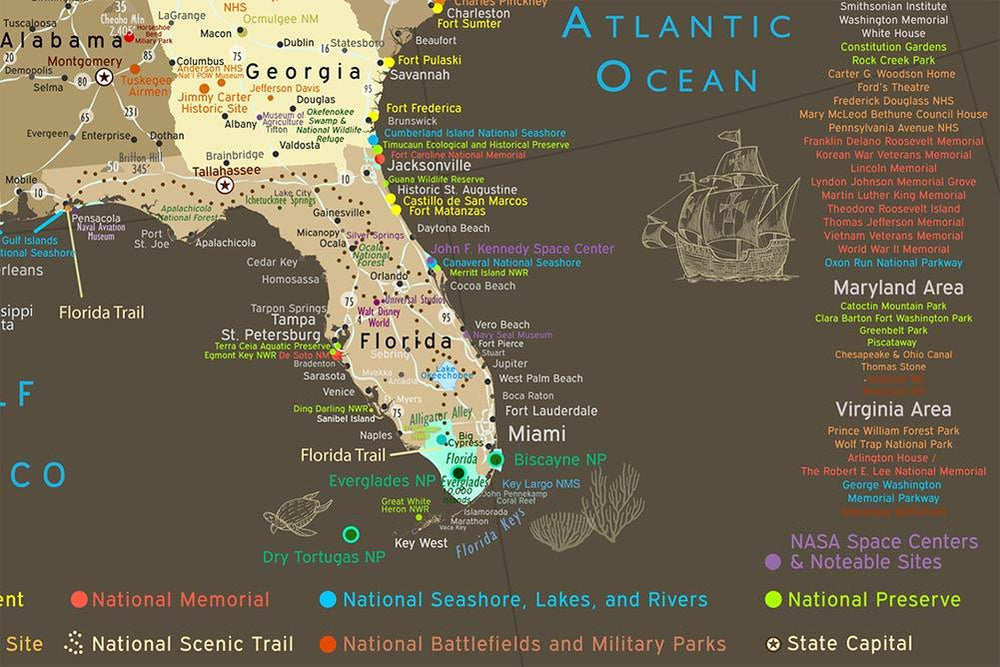 close up map of florida