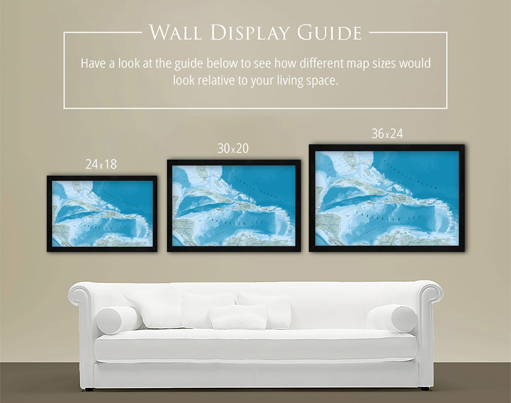 caribbean map home decor