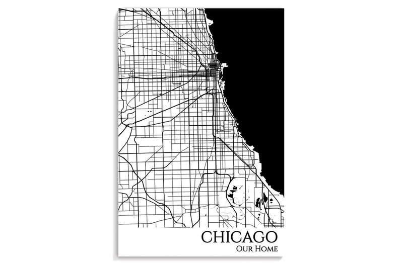 chicago city map art print