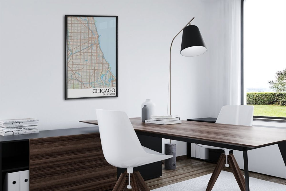 chicago city map office decor