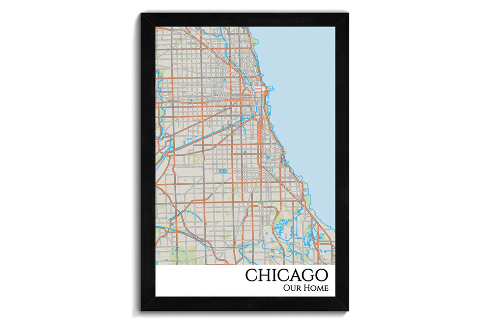 chicago city map wall art