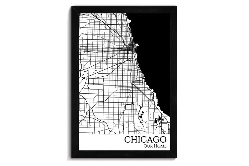 chicago framed city map