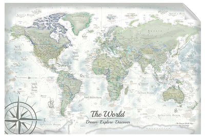 Darwin World Map Wall Decal