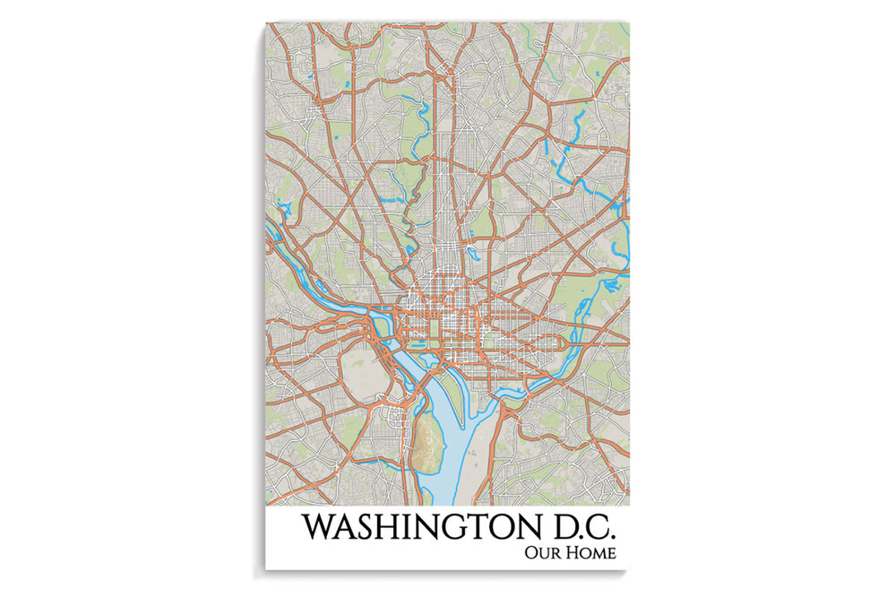 dc city map hanging poster