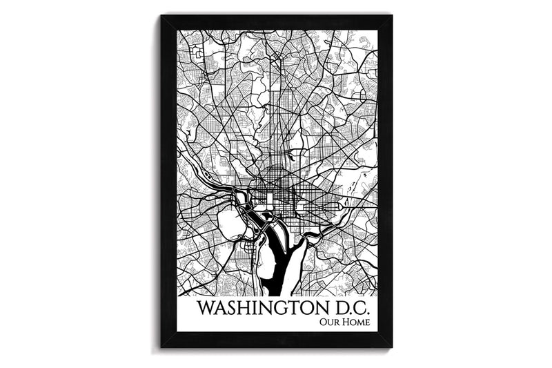 dc framed city map