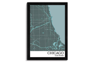 framed chicago city map