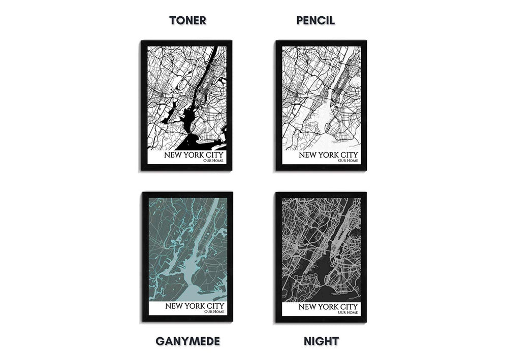 framed city map designs
