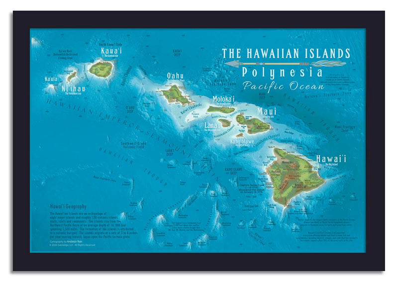 framed hawaii state map