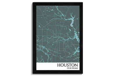 framed houston map