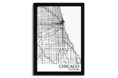 framed map of chicago